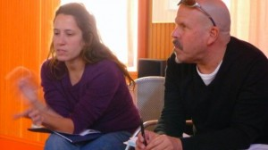 Every filmmaker had an hour of the residency dedicated solely to the discussion of her or his outreach plan. Here filmmaker Luisa Dantas and Robert West, Working Films' ED, discuss her project Land of Opportunity.